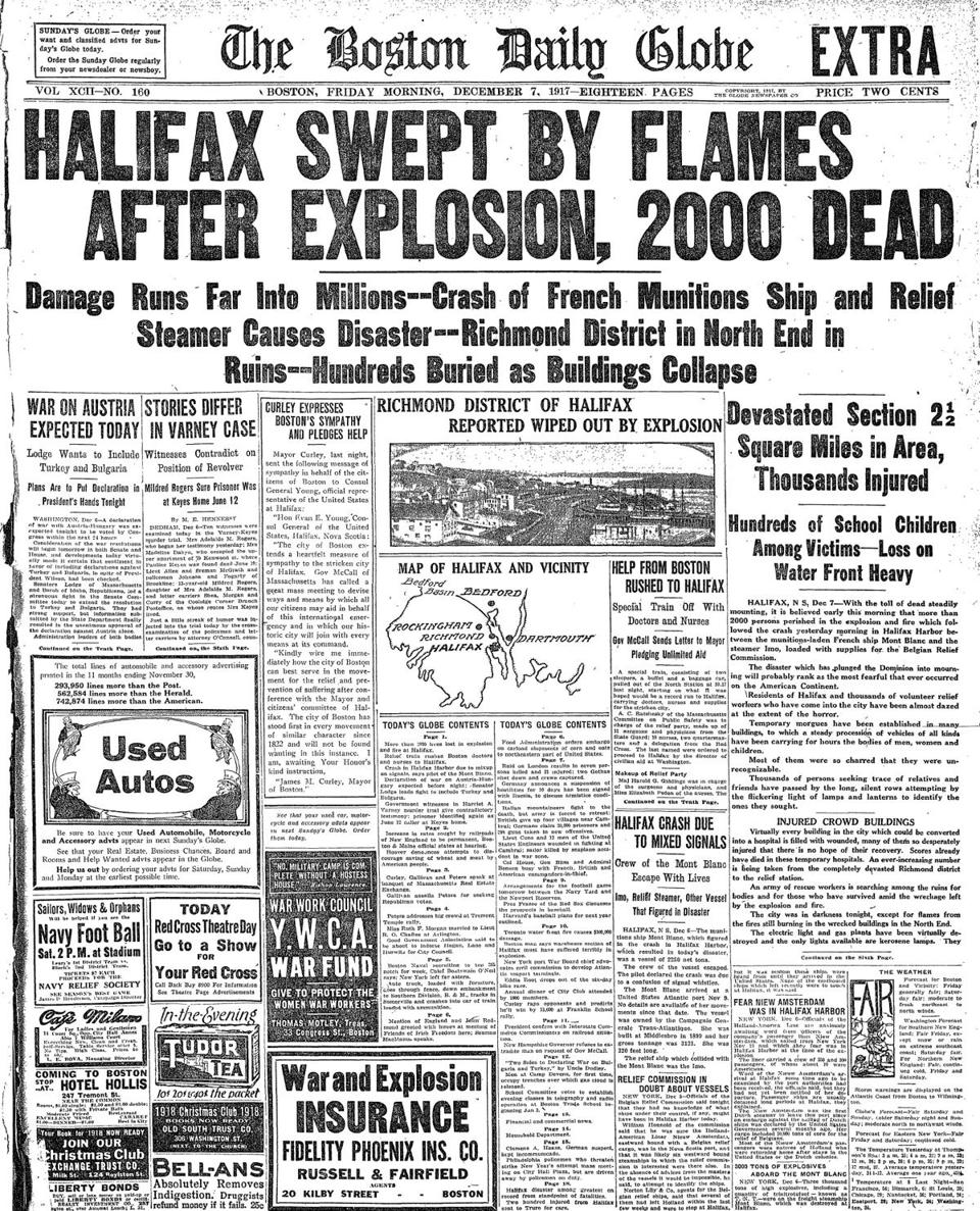 The front page of the Boston Daily Globe on Dec. 7, 1917.